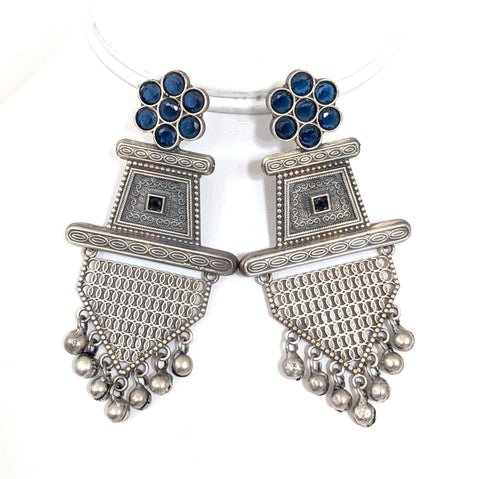 Geometric shape German silver look alike designer earring