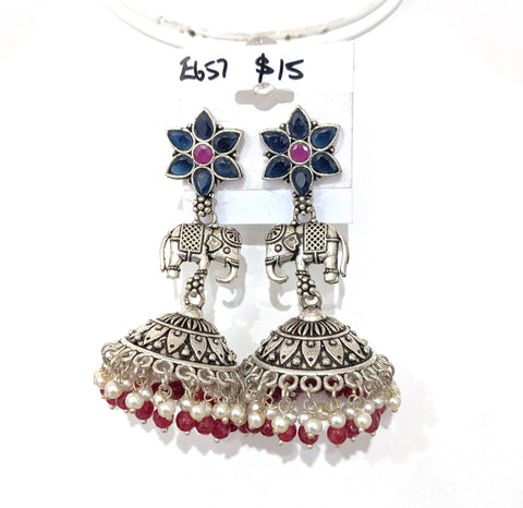 Oxidized Flower stud with Elephant connector Large Jhumka Earring