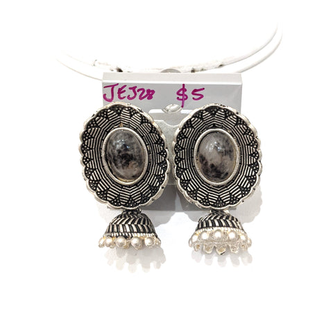 Silver matte finish resin stone small jhumka earring