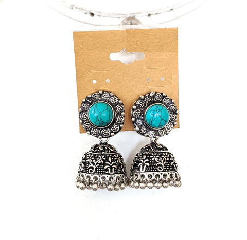 Resin stone Oxidized silver jhumka earring