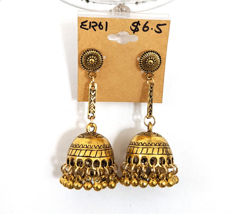 Small round stud antique gold jhumka earring