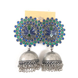 XL size Lotus stud oxidized jhumka Earring