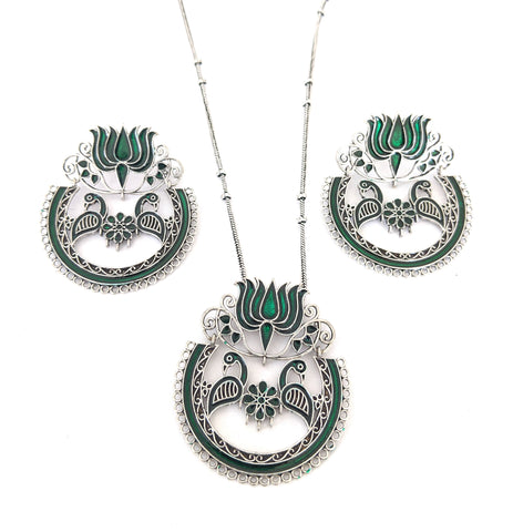 Lotus with dual peacock chandbali design enamel work silver pendant and earring set