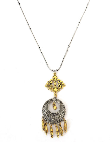Dual tone silver n gold double design pendant chain Afghani necklace - Design 4