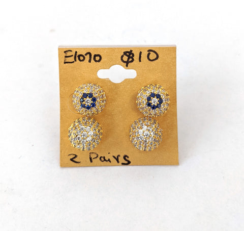 2 pairs $10 - one gram gold zirconia Circle Stud Earring