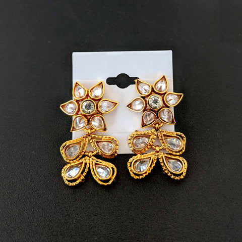 Traditional Polki stone antique gold designer stud earring