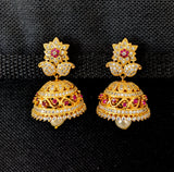 Flower stud one gram gold Zirconia Jhumka Earring