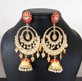 Yellow gold polished pearl cluster beads dangling dual circle Jhumka Earring