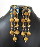 Unique ball hanging Meenakari designer long Earring - Simpliful