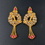 Unique chain hanging Chandbali Gold plated Earring