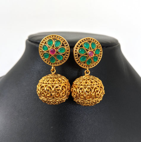 Round flower stud with antique gold ball dangle earring