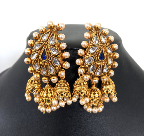 Large Mango Stud with triple antique gold jhumka hanging Earring