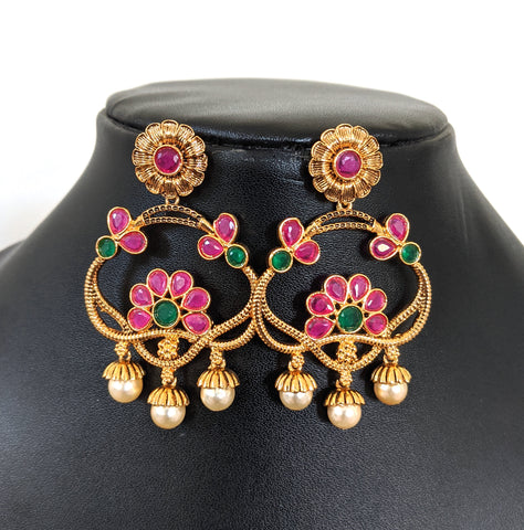 Pearl bead dangling flower stud designer ramleela style antique gold Earring