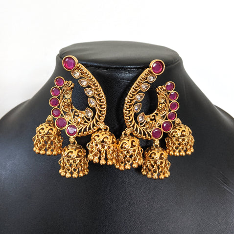 Large Arc Stud with triple antique gold jhumka hanging Kemp Designer Earring