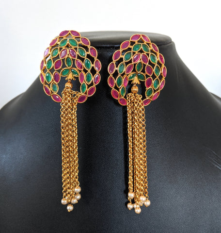 CZ stone Stud with antique gold chain tassel Earring