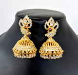 One gram gold Peacock stud tear drop hanging Jhumka Earring