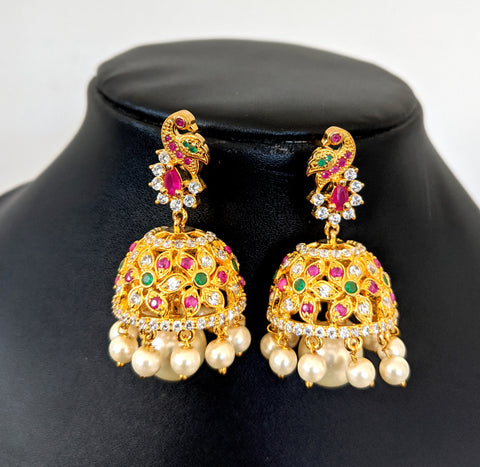 One gram gold Peacock stud flower design pearl bead hanging Jhumka Earring