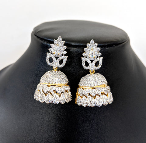 Platinum finish Diamond CZ Jhumka Earring