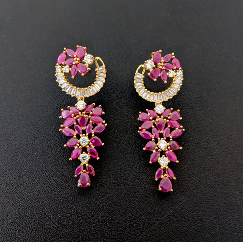 Arc stud with grape dangle design CZ Earring