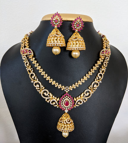 One gram gold plated Double stranded Grandeur Necklace n Earring set - Simpliful