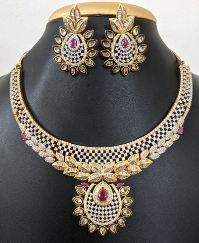 Statement Set - One gram gold CZ Choker Necklace Earring Set