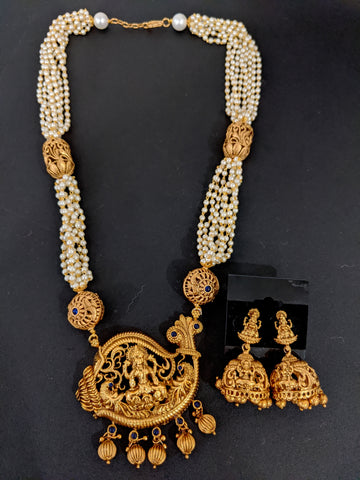 Goddess Lakshmi matte gold finish Pearl Chain Necklace and Jhumka Earring set