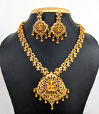 Grand Goddess Lakshmi matte gold finish choker Necklace and Earring set