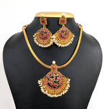 Traditional adigai style matte gold finish choker Necklace and earring set