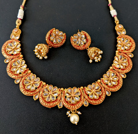 Matte meenakari work Arc Flower Choker Necklace and Jhumka Earring set