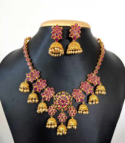 Multiple jhumka hanging Antique Necklace and Jhumka Earring set