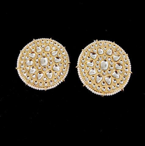 Large Oval design Kundan like stone embedded Stud Earring