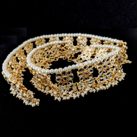 Kundan Statement Anklet - Yellow gold - Pearl cluster bead
