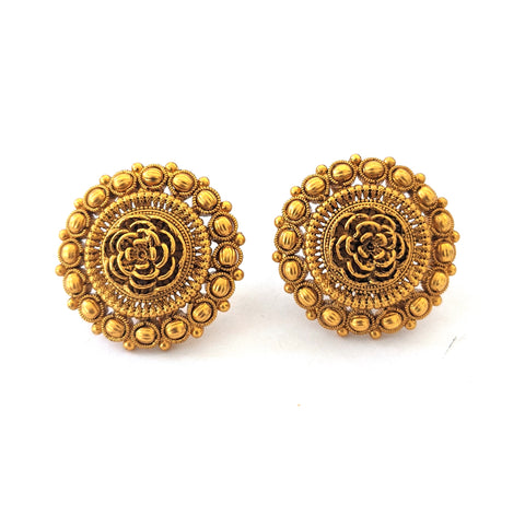 Traditional Antique Matte gold Rose flower Stud Earring