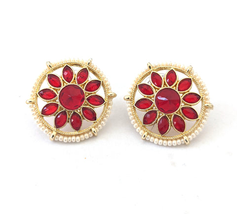 Flower design Polki stone Casual Stud Earring