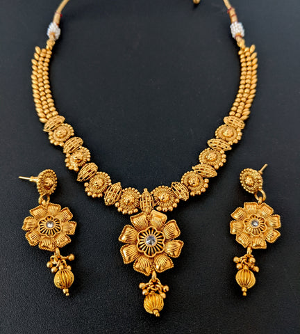 Traditional Flower design Choker Necklace and Earring set - Real Gold look alike