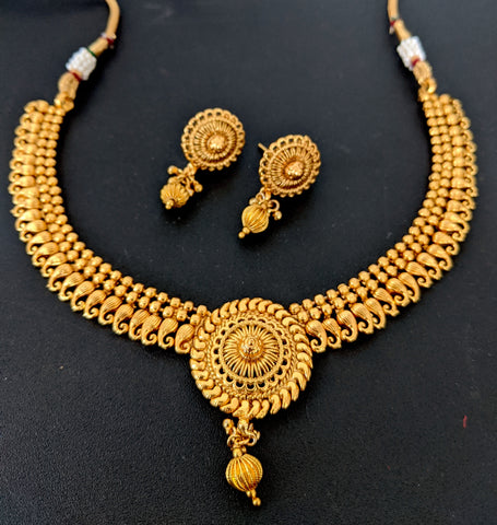 Traditional Mango design Choker Necklace and Earring set - Real Gold look alike