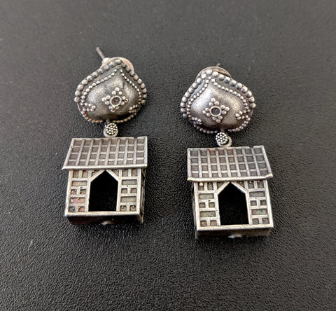 Funky House design Oxidized Silver Earring