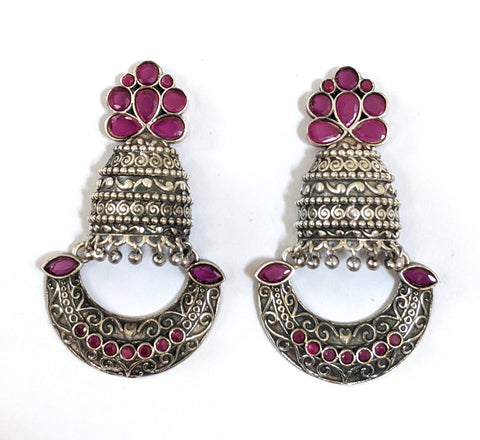 Oxidized Silver Cut Jhumka Arc Earring