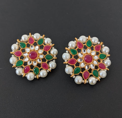 Pearl bead surrounded Large Flower design Stud Earring