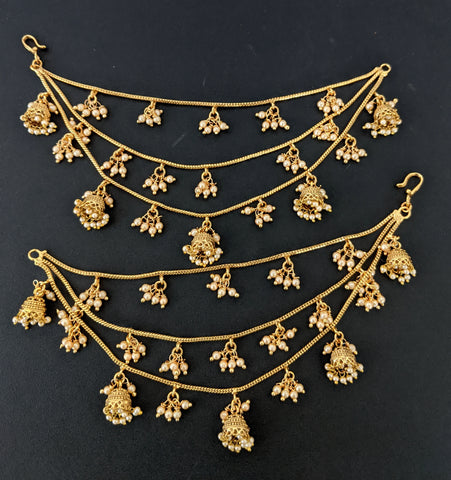 Jhumka dangling triple layer Ear chain / Maatal