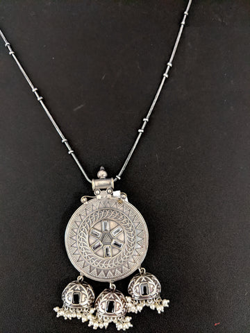 German silver Kemp stone Cut Jhumka hanging Pendant Chain Necklace