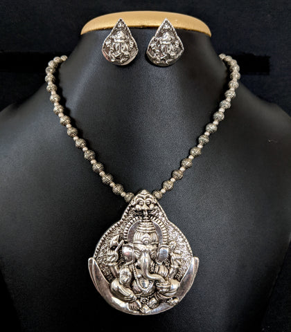 Oxidized silver Lord Ganesh Necklace Stud Earring set