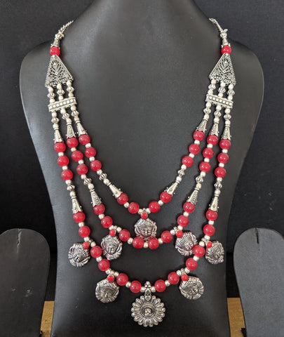 Color Bead and silver multi stranded Durga Maa face Long Necklace