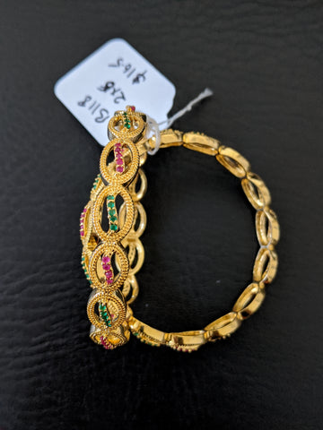 Oval design One gram gold Ruby Green CZ stone Bangles