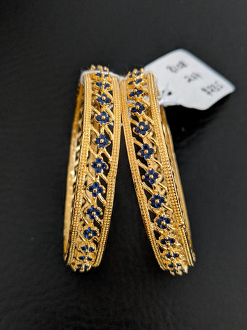 Blue CZ stone 4 dot design One gram gold Bangles