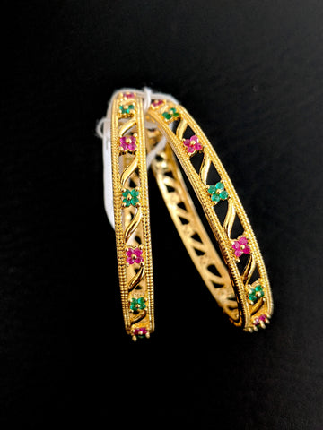 4 dot flower design One gram gold Ruby Green CZ stone Bangles