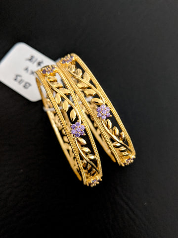 Leafy Flower design Purple CZ stone One gram gold bangles