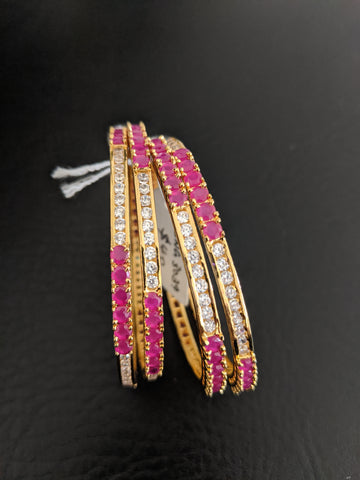 Ruby White CZ stone Lined One Gram gold Bangles - Set of 4