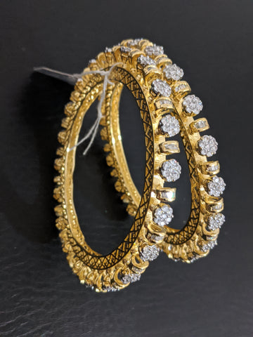 Exclusive Designer White CZ stone One gram gold bangles