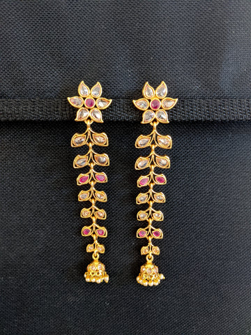 Bright Gold plated Long Dangle Polki Jhumka Earrings